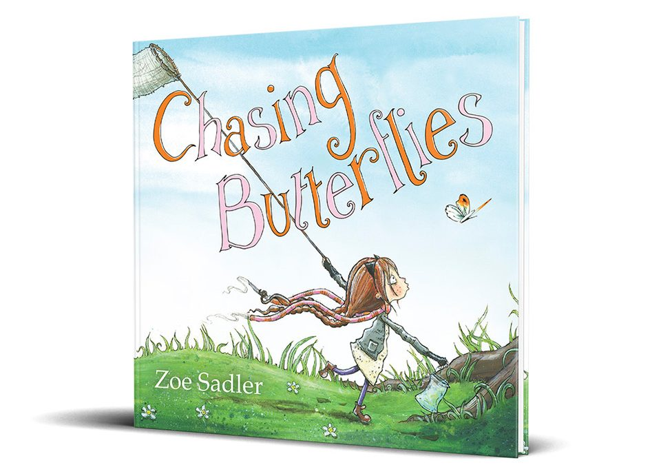 Children's book Chasing Butterflies front cover. Written and illustrated by Zoe Sadler