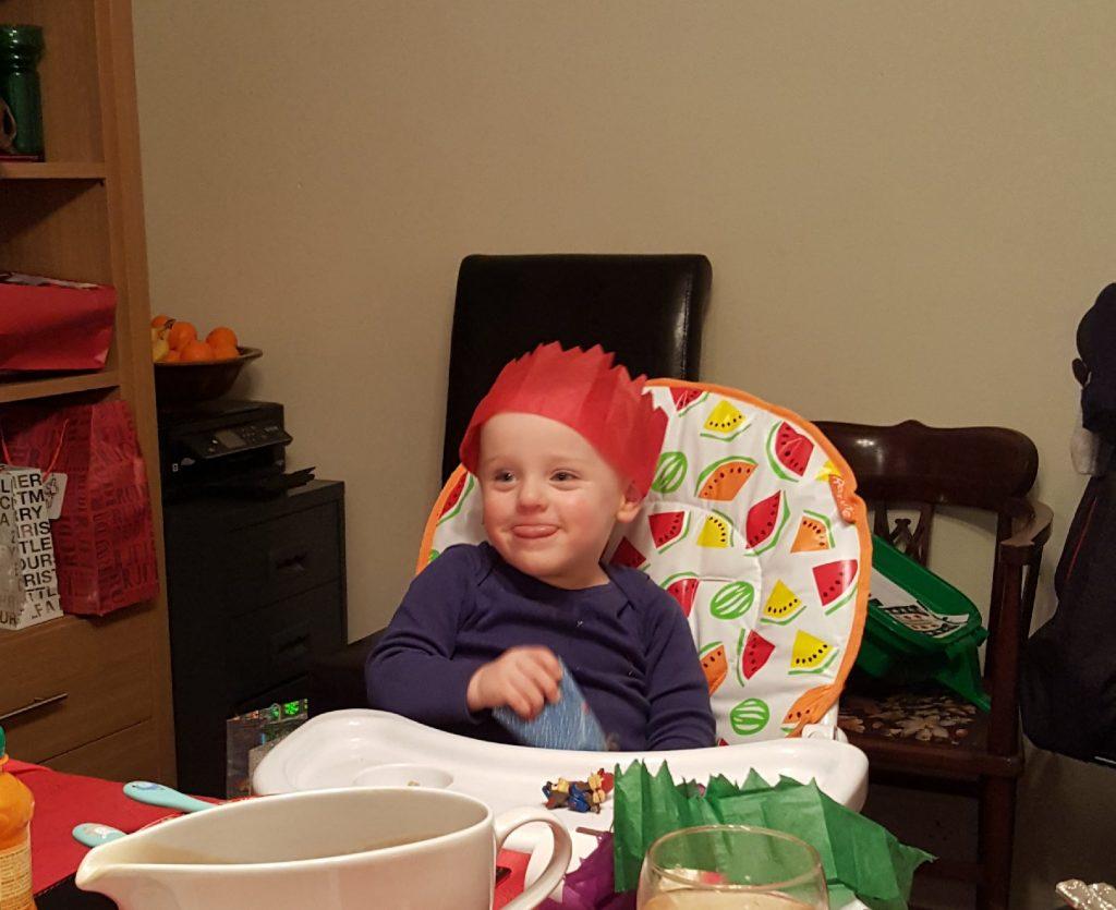 2 year old premature baby enjoying Christmas dinner