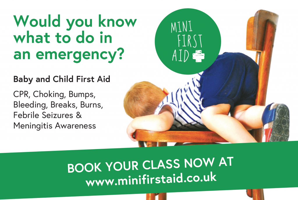 Mini First Aid flyer explaining how to book a class