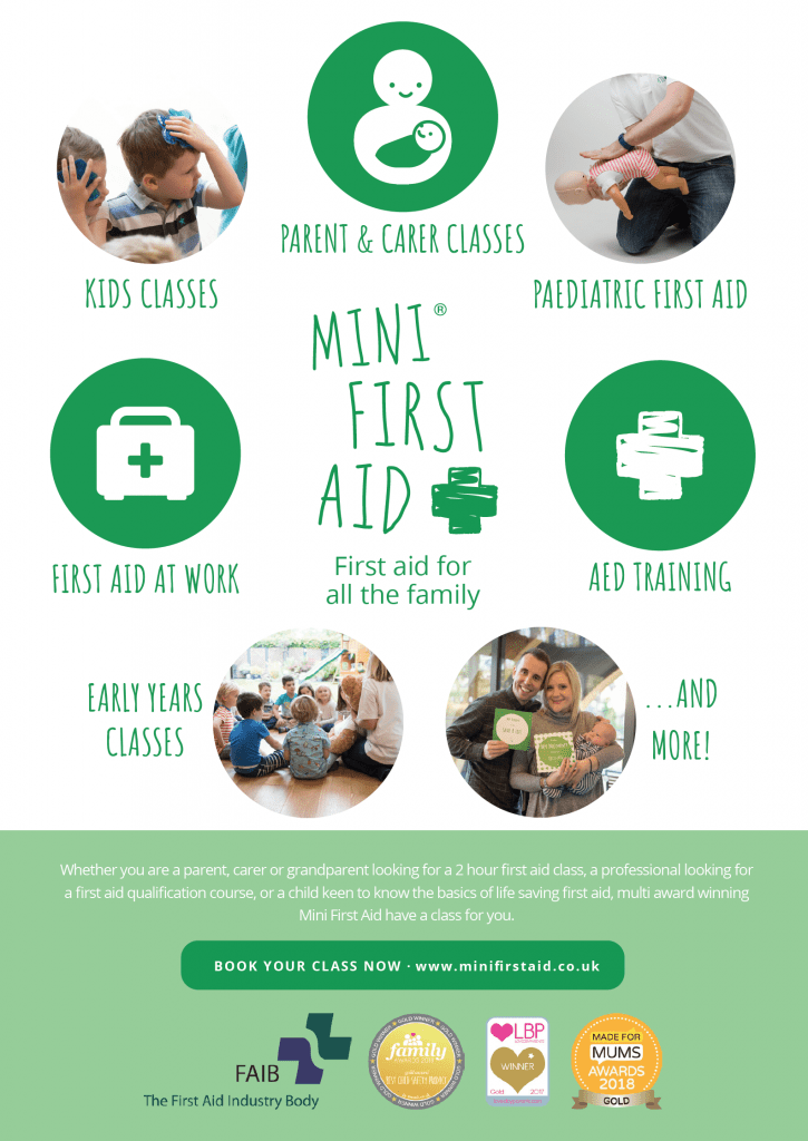 Mini First Aid advertising flyer explaining what the classes teach