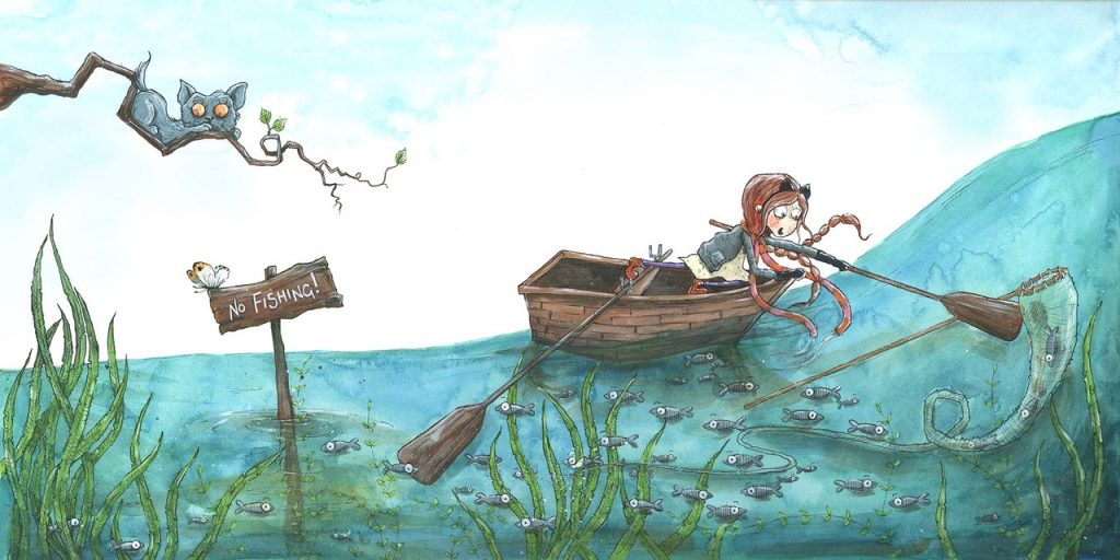 Chasing Butterflies Nova in a rowing boat illustrated by Zoe Sadler