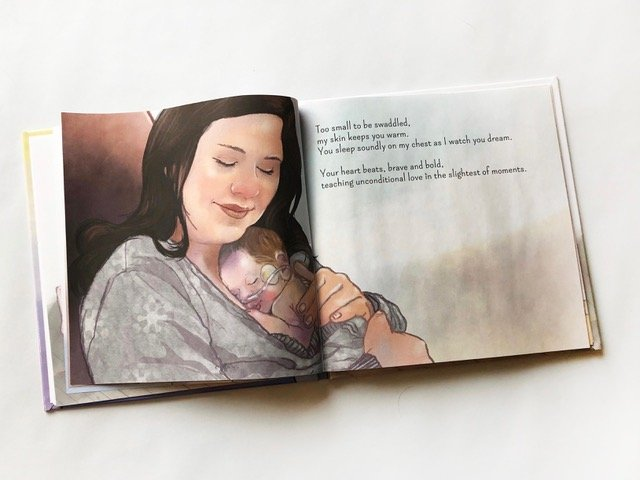 Kangaroo care with a preemie baby. Page from Small But Mighty by Alyssa Veech