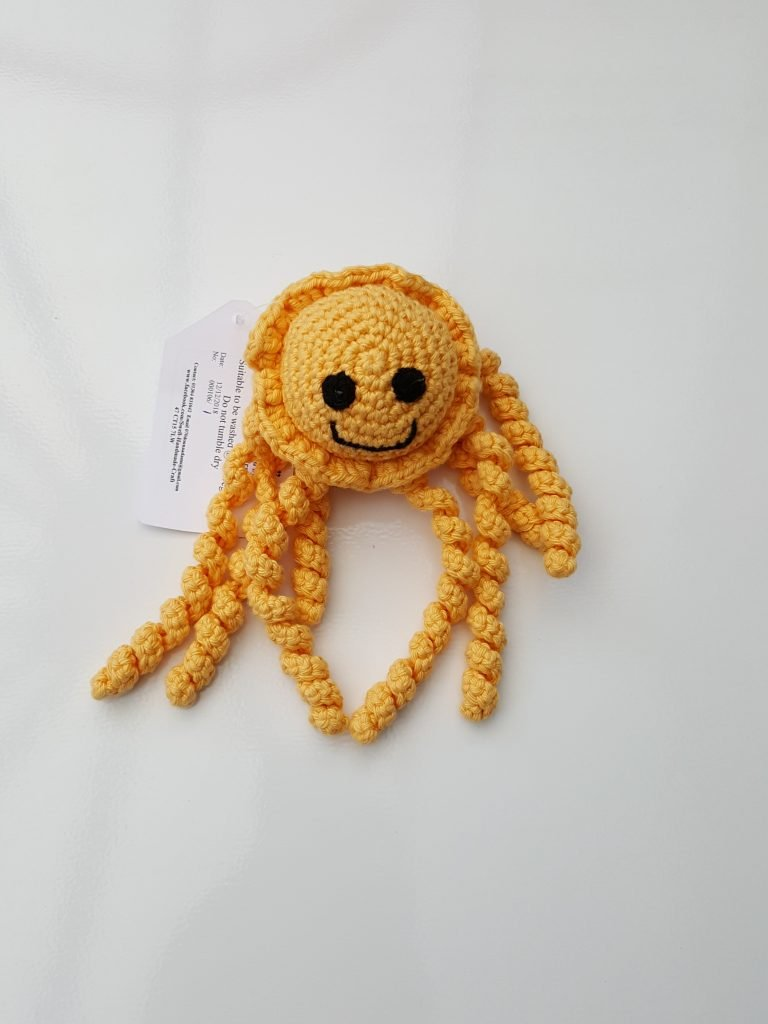 Crocheted yellow preemie jellyfish