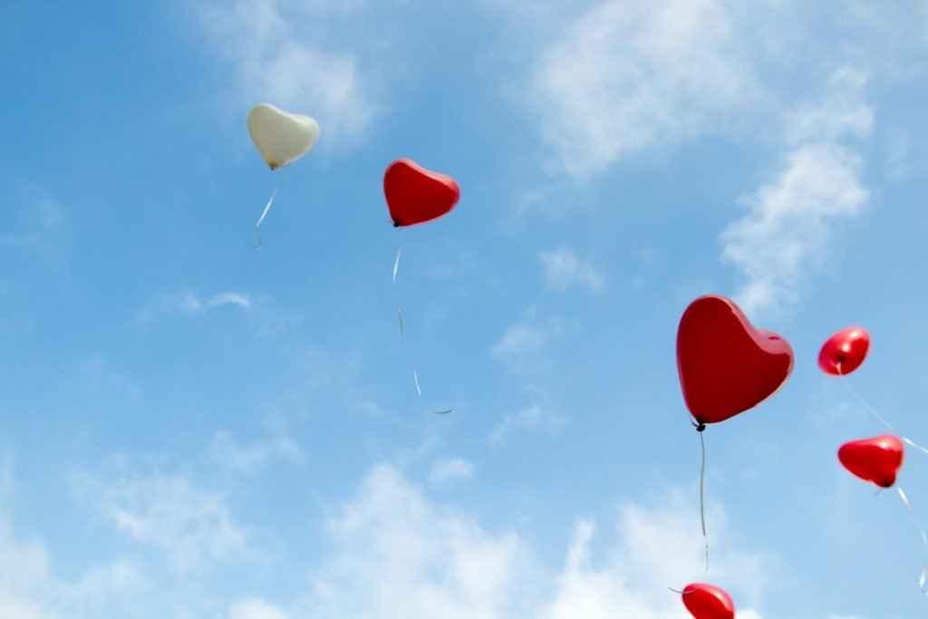 Balloon hearts in the sky. Photography credit: Christopher Beloch