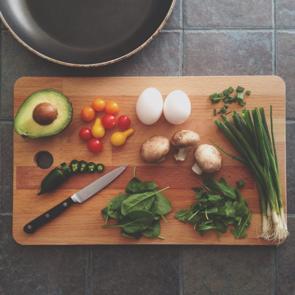 Food on a chopping board. Photography credit Katie Smith