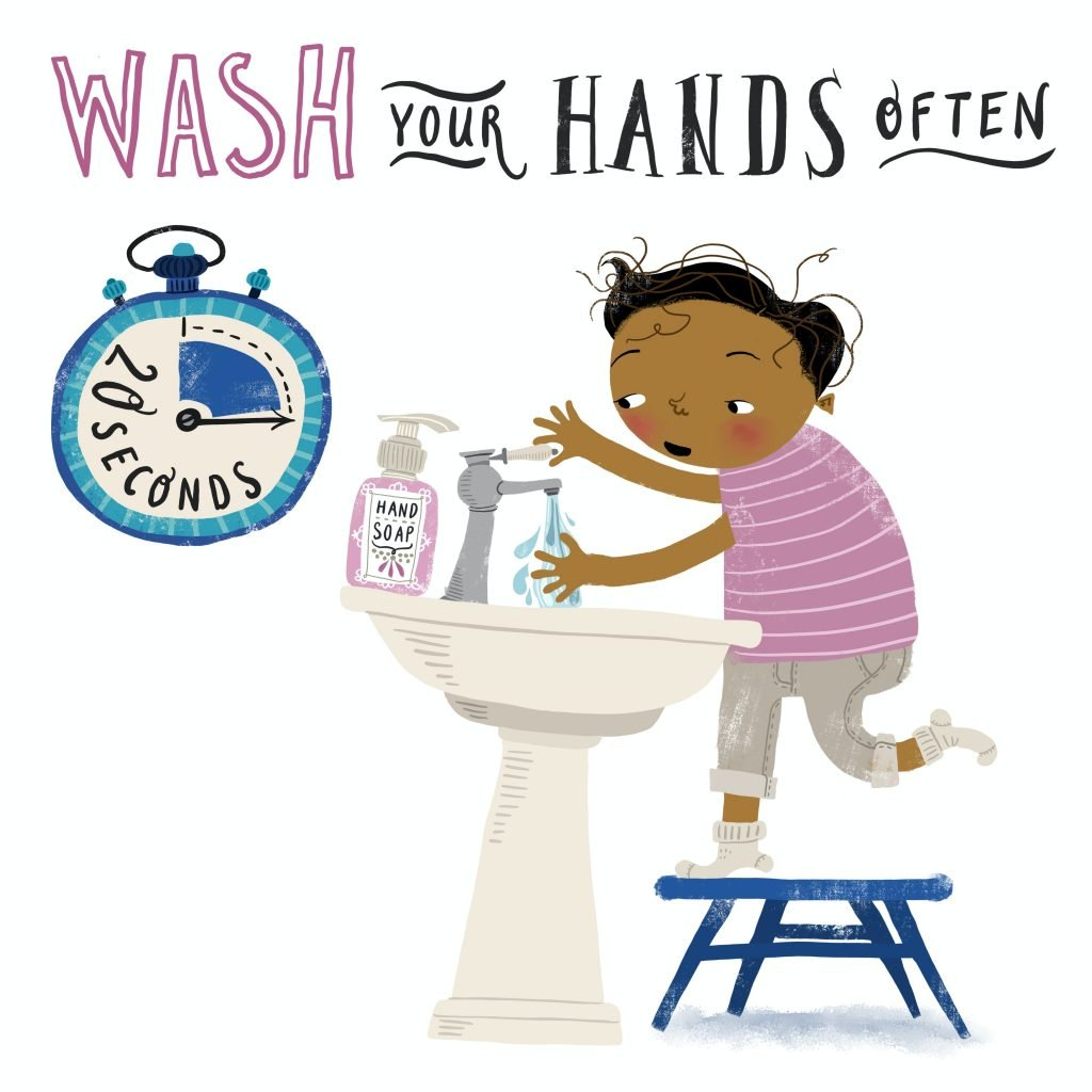 Illustration of a young person washing their hands. Image credit: United Nations Covid 19 response