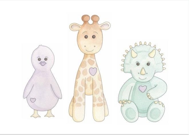 Presents for Preemies - duckling, giraffe and dinosaur. Artist: Kerri Awosile